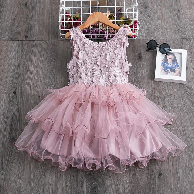Kids Little Girls' Dress Flower Party Wedding Ruffle Tutu Mesh Embroidered White Blue Blushing Pink Knee-length Sleeveless Elegant Princess Dresses