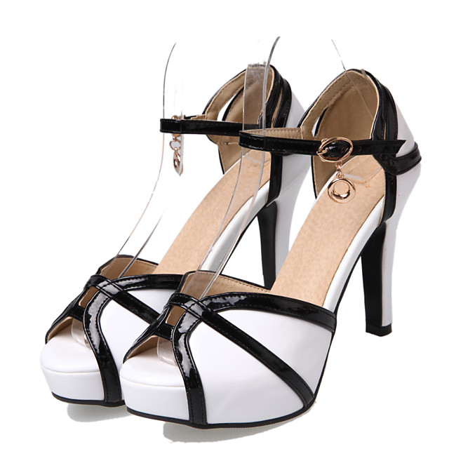 Women's Heels Spring / Summer Pumps Peep Toe Casual Sexy Sweet Daily Party & Evening Buckle Color Block PU White / Black / Red