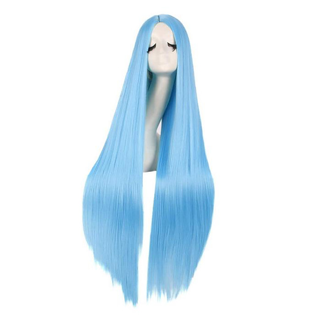 Synthetic Wig kinky Straight Natural Straight Middle Part Wig Very Long Light Brown Dark Brown Lake Blue Black Purple Synthetic Hair 40 inch Women's Cosplay New Arrival Comfortable Black