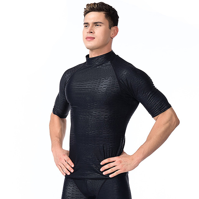 Men's Rash Guard Elastane Top Breathable Quick Dry Half Sleeve Swimming Surfing Water Sports Solid Colored Autumn / Fall Spring Summer / Stretchy