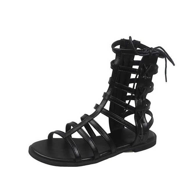 Women's Sandals Roman Shoes / Gladiator Sandals Summer Flat Heel Open Toe Daily PU Black