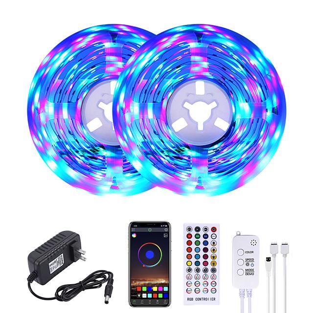 MASHANG 32.8ft 10M RGB LED Strip Lights Music Sync Smart LED Lights Tiktok Lights 600LEDs SMD 2835 Color Changing with 40 keys Remote Bluetooth Controller for Home Bedroom TV Back Lights DIY Deco