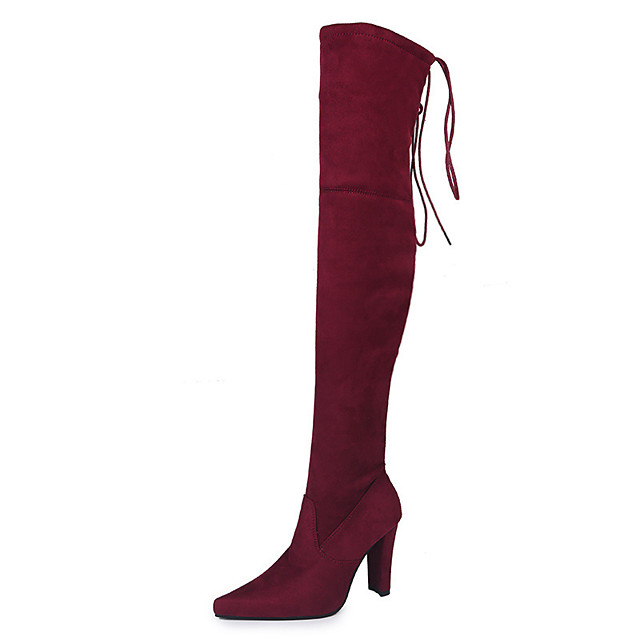 Women's Boots Cuban Heel Pointed Toe Casual Basic Daily Solid Colored Suede Over The Knee Boots Walking Shoes Black / Red / Black