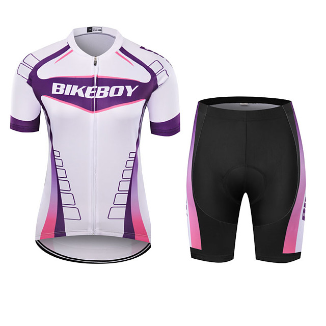 BIKEBOY Women's Short Sleeve Cycling Jersey with Shorts Polyester Purple Patchwork Bike Clothing Suit Breathable 3D Pad Quick Dry Reflective Strips Back Pocket Sports Patchwork Mountain Bike MTB Road
