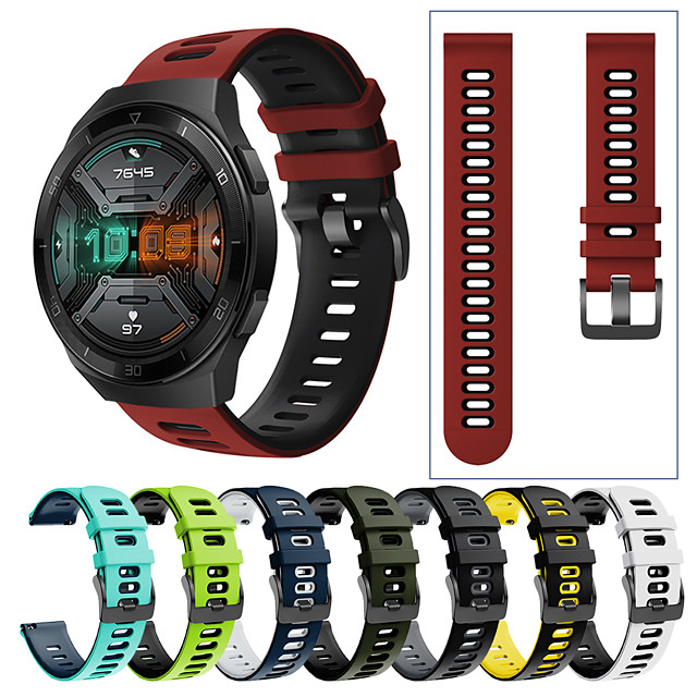 Sport Silicone Wrist Strap Watch Band for Huawei Watch GT 2e / GT2 46mm / GT 2 42mm / GT Active / Honor Magic Watch 2 46mm / Magic Watch 2 42mm / Watch 2 Pro Replaceable Bracelet Wristband