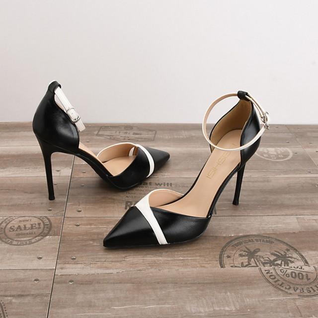 Women's Heels Spring Summer Stiletto Heel Pointed Toe Daily PU Nude / White / Black / 3-4