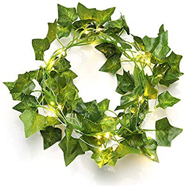 2m 20 LED Artificial Plants String Light Green Leaf Ivy Vine Fairy Maple Leaves Garland DIY Hanging Decoration for Wedding Home 1pc 2pcs 4pcs