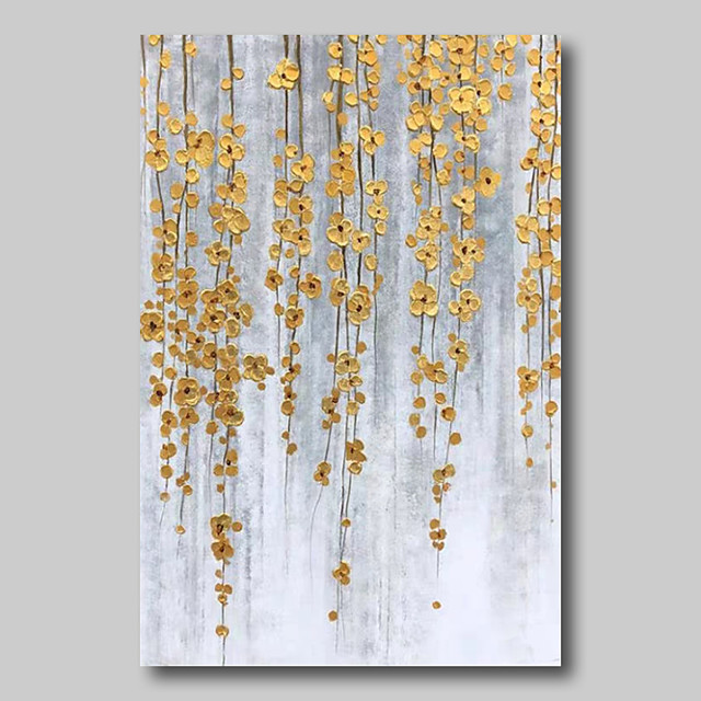 Oil Painting Hand Painted - Abstract Abstract Landscape Comtemporary Modern Stretched Canvas Golden Flowers
