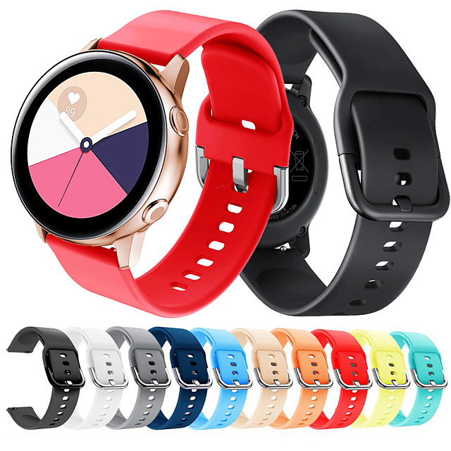 20mm Soft Silicone Watch Strap Band for Samsung Galaxy Watch 42mm Stainless Steel Clasp Sport Wrist Strap