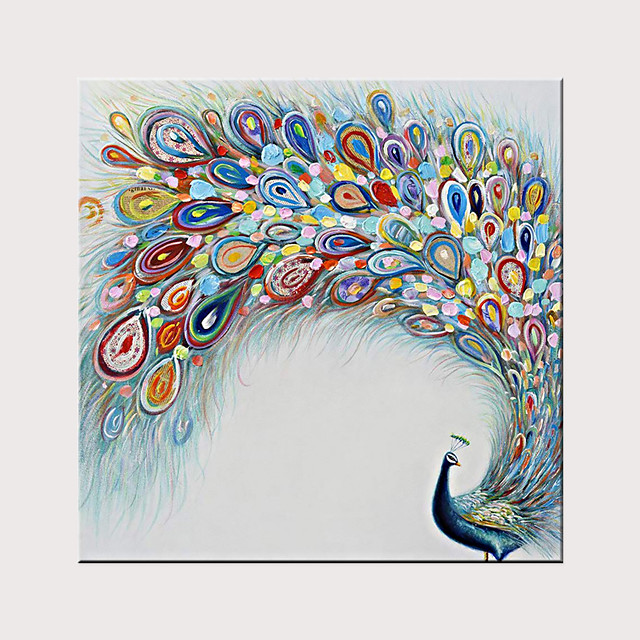 Hand Painted Modern Peacock Oil Painting on Canvas Handmade Abstract Animal Wall Art for Decor Rolled Without Frame