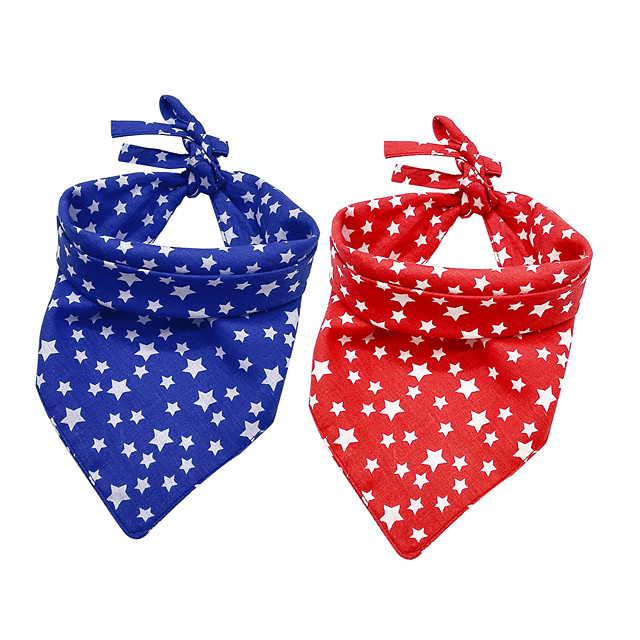 Dog Cat Bandanas & Hats Dog Bandana Dog Bibs Scarf Stars Casual / Sporty Cute Party Sports Dog Clothes Adjustable Red Blue Costume Cotton
