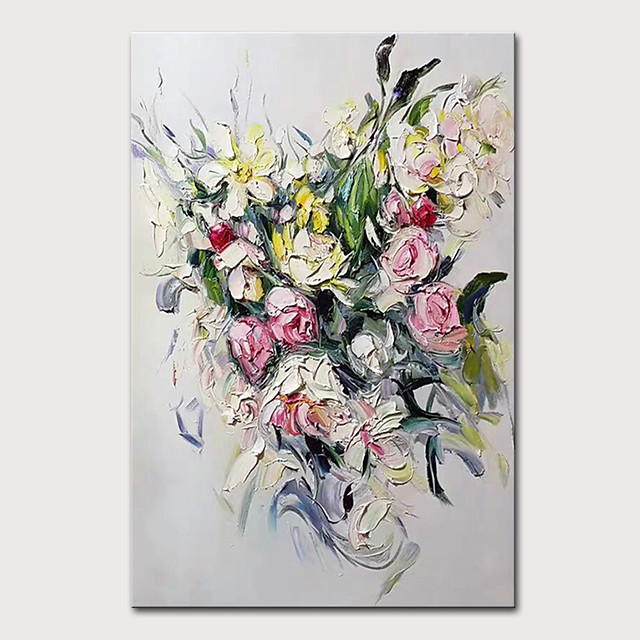 Mintura Hand Painted Modern Flowers Oil Paintings on Canvas Abstract Wall Picture Pop Art Posters For Home Decoration Ready To Hang