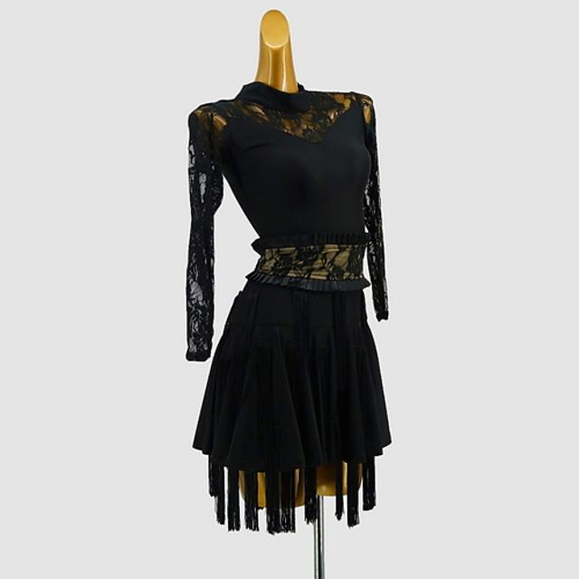 Latin Dance Dress Tassel Split Joint Girls' Training Daily Wear Long Sleeve Polyester