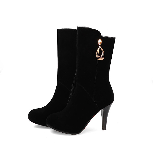 Women's Boots Stiletto Heel Round Toe Casual Basic Daily Solid Colored Suede Mid-Calf Boots Walking Shoes Black