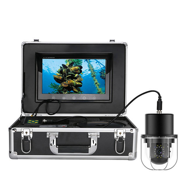 9 Inch 50M Underwater Fishing Video Camera Fish Finder IP68 Waterproof 20 LEDs 360 Degree Rotating Dome  Rotating Panoramic viewing Camera