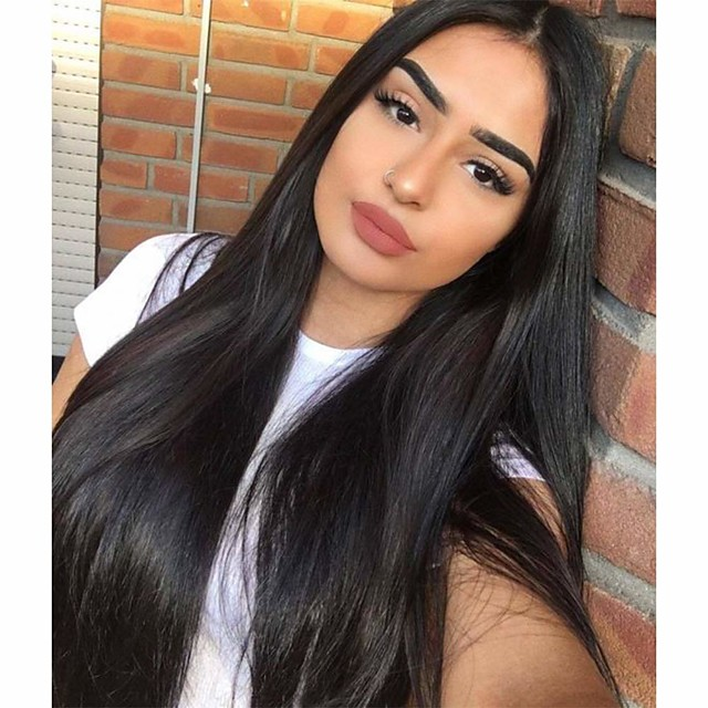 Synthetic Wig Straight Middle Part Wig Long Light Brown Dark Brown Natural Black #1B Synthetic Hair 28 inch Women's Party Fashion Comfortable Black / Ombre Hair