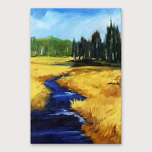 IARTS Hand Painted Rural road Oil Painting with Stretched Frame For Home Decoration With Stretched Frame