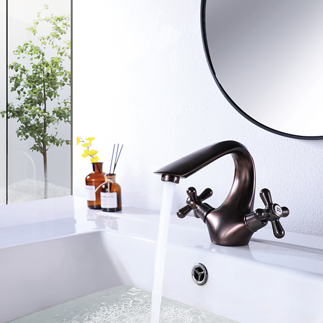 Bathroom Sink Faucet Oil Rubbed Bronze Hot and Cold Single Hole Double Handle Cross Knobs Basin Mixer Tap with Vanity Sink Drain with Overflow