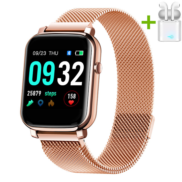 JSBP HYF1 Smart Watch BT Fitness Tracker Support Notify Full Touch Screen/Heart Rate Monitor Sport Stainless Steel Bluetooth Smartwatch Compatible IOS/Android Phones