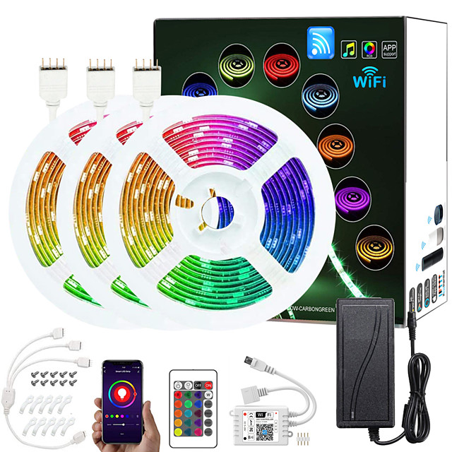 ZDM Upgraded 50ft (3*5M) App Intelligent Control Led Strip Lights IR 24 Key WIFI Controller 5050 RGB Waterproof LED Soft light strip with Adapter Kit DC12V