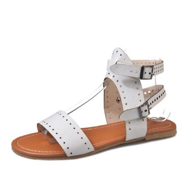 Women's Sandals Roman Shoes / Gladiator Sandals Summer Flat Heel Open Toe Daily PU Light Brown / White / Black