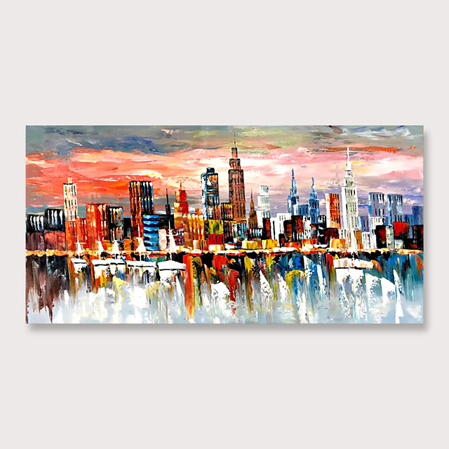 Canvas Wall Art Prints Modern Abstract Cityscape Painting ModernColorful New York Skyline Buildings Picture for Home Office Decor Rolled Without Frame