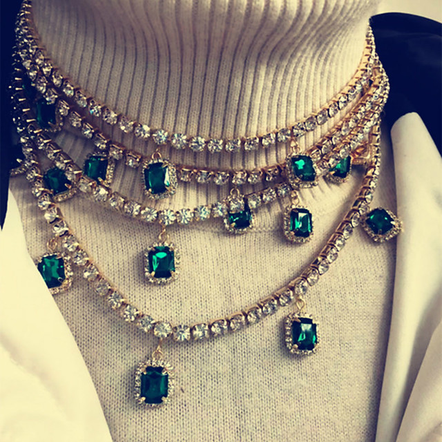 Women's Green Red White Cubic Zirconia Choker Necklace Stacking Stackable Luxury European Zircon Alloy Red Green 21-50 cm Necklace Jewelry For Party Evening Gift Masquerade Prom Festival
