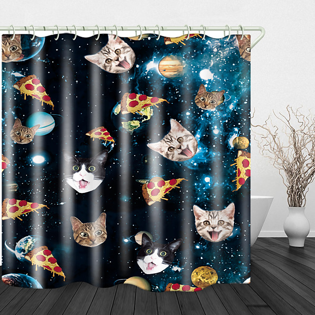 Cute Cat Head Digital Print Waterproof Fabric Shower Curtain For Bathroom Home Decor Covered Bathtub Curtains Liner Includes With Hooks