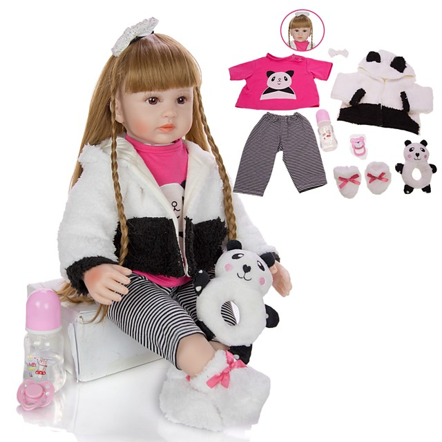 KEIUMI 24 inch Reborn Doll Baby & Toddler Toy Reborn Toddler Doll Baby Girl Gift Cute Lovely Parent-Child Interaction Tipped and Sealed Nails Half Silicone and Cloth Body with Clothes and Accessories