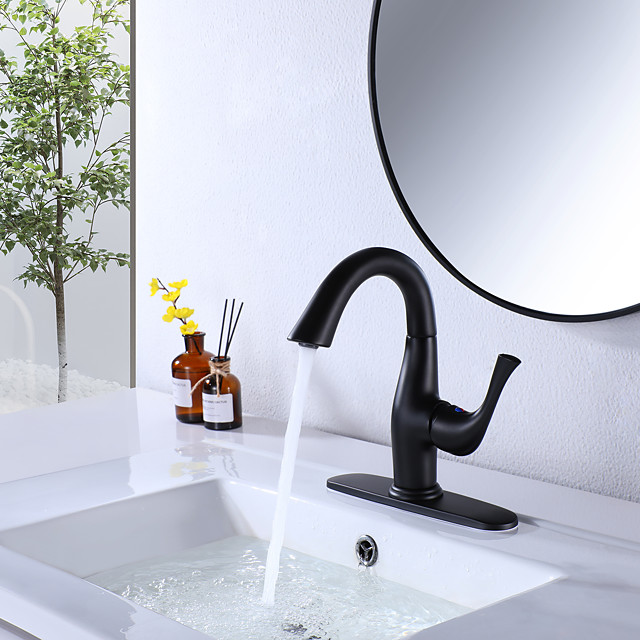 Bathroom Sink Faucet British Royal Soldier Style Single Handle Single Hole 8.2 Inch Bathroom Sink Faucet Deck Mount Hot and Cold Lavatory Faucet Polished Chrome Black