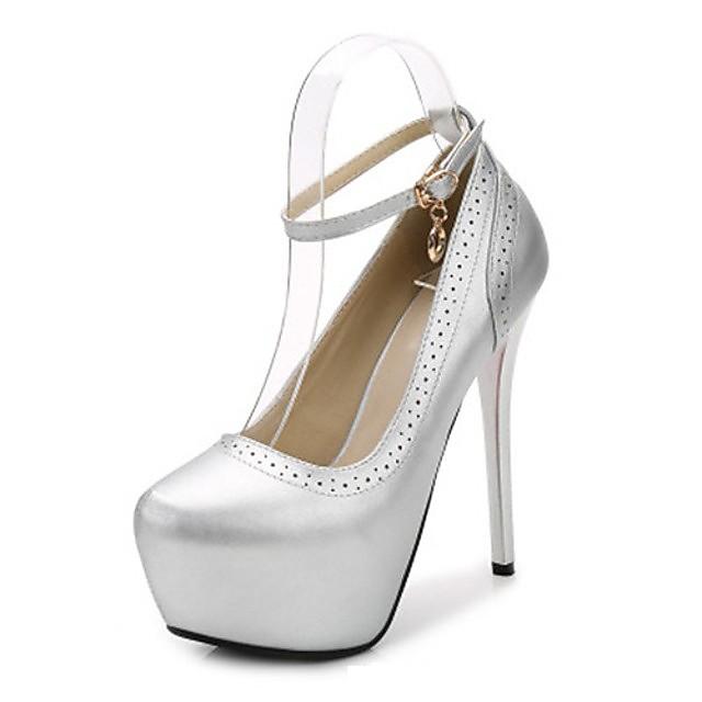 Women's Heels Summer Stiletto Heel Round Toe Daily PU Black / Champagne / Silver