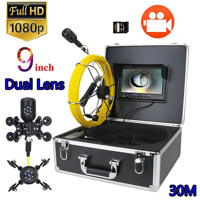 9inch DVR 30M 1080P HD Dual Camera Lens Drain Sewer Pipeline Industrial Endoscope Pipe Inspection Video Camera