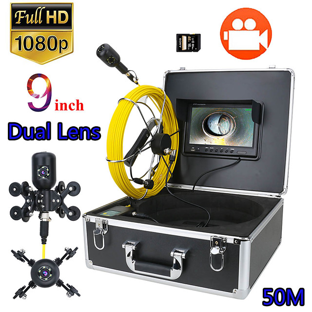9inch DVR 50M 1080P HD Dual Camera Lens Drain Sewer Pipeline Industrial Endoscope Pipe Inspection Video Camera