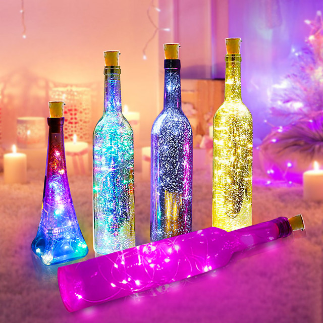 6pcs 2M 20LED Wine Bottle Lights Button Battery Powered Garland Fairy Christmas LED String Lights For Halloween Party Wedding Decoration With Battery