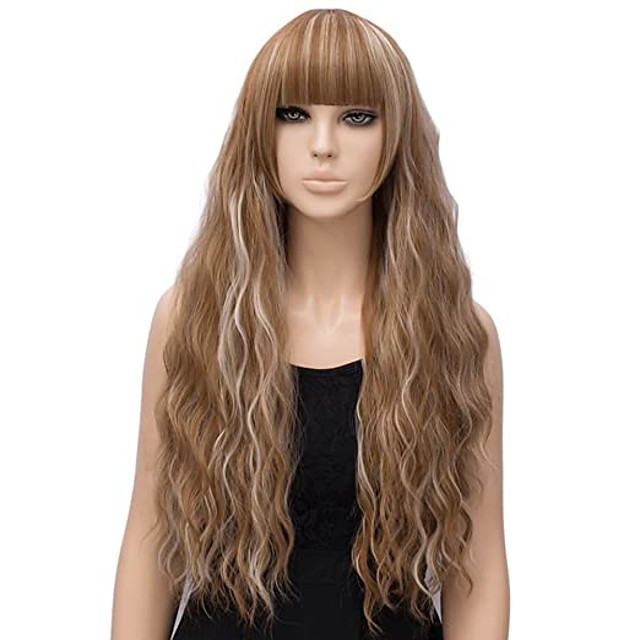 Synthetic Wig Curly Wavy With Bangs Wig Medium Length Brown Pink Black Synthetic Hair 26 inch Women's Classic Synthetic Hot Sale Black