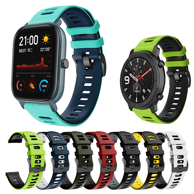 Sport Silicone Wrist Strap Watch Band for Amazfit Bip S / GTS / Amazfit Stratos 3 / Amazfit Stratos 2 2S / Amazfit Pace 1 / GTR 47mm / GTR 42mm / Bip Lite / Xiaomi Watch Color Bracelet Wristband