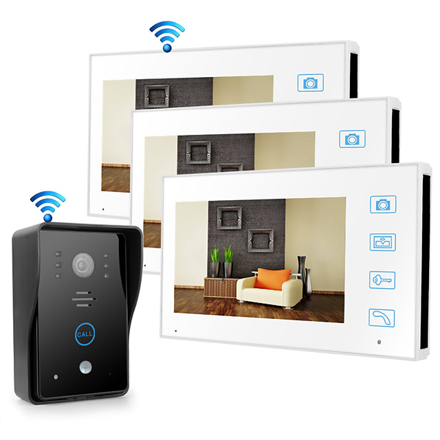 Wireless 2.4GHz 7 inch Hands-free 800*480 Pixel with PIR Motion Detect video doorphone