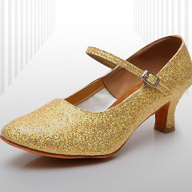 Women's Dance Sneakers Leather Heel Slim High Heel Dance Shoes Gold / Silver