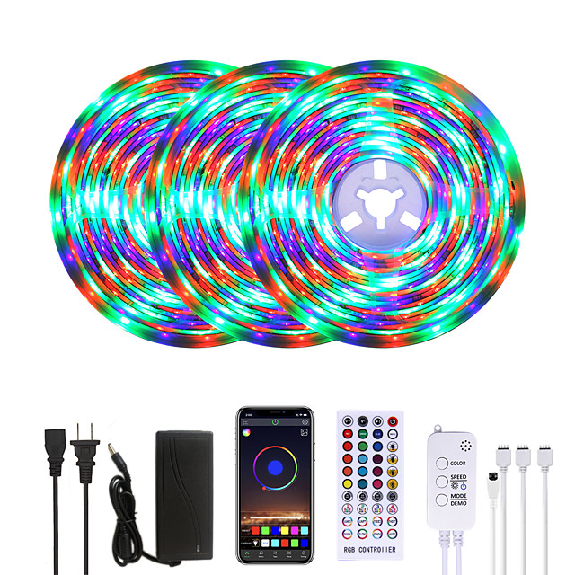MASHANG Bright RGB LED Strip Lights Waterproof 15M Music Sync Smart LED Tiktok Lights 900LEDs 2835 Color Changing with 40 keys Remote Bluetooth Controller for Home Bedroom TV Back Lights DIY Deco