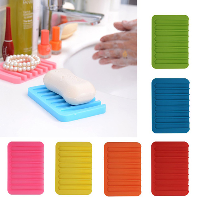 Silica Soap Holder Dish Saver Gel Water Shower Drying Bathroom Silicone Storage Soap-Dish Plate Tray Drain Box