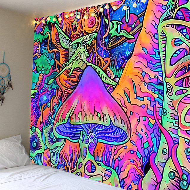 Psychedelic Abstract Wall Tapestry Art Decor Blanket Curtain Picnic Tablecloth Hanging Home Bedroom Living Room Dorm Decoration Polyester Arabesque Hippie Mushroom Forest