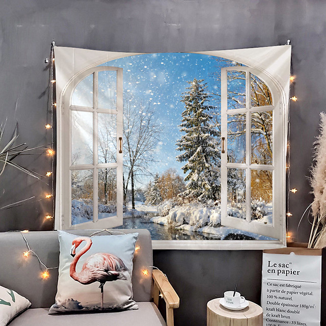 Window Landscape Wall Tapestry Art Decor Blanket Curtain Picnic Tablecloth Hanging Home Bedroom Living Room Dorm Decoration Polyester Winter Snow Tree