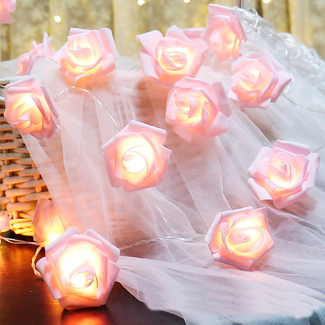 6M 40LED Pink Rose Flower LED Fairy Lights Holiday String Lights Battery Operated Valentine Wedding Party Christmas Decoration Lamp Without Battery