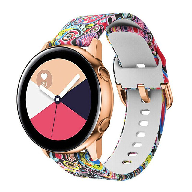 Replacement 20mm Coloured Drawing Silicone Sport Smart Strap for Samsung Galaxy Watch 42mm Watch Band