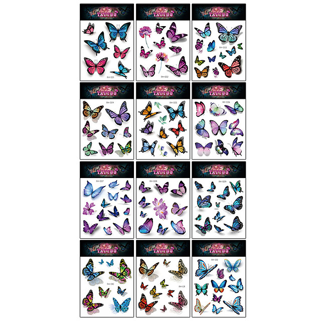12 Pcs/set Temporary Tattoos Butterfly Tattoos for Kids Womens Colorful Body Art Temporary Tattoos, Butterfly Party Favors
