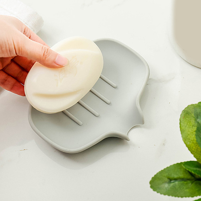 Sponge Holder Bathroom Storage Rack Drain Soap Box Portable Non-Slip Tray Shower Dish Plate