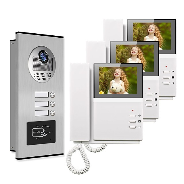4.3 Wired Video Doorbell Video Intercom Multi-User Direct Press Visual Intercom Doorbell Network Cable With Camera 3 Monitors Video Door Phone Intercom System