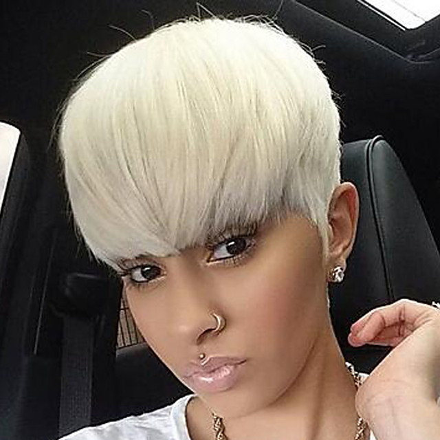 Synthetic Wig Natural Straight Asymmetrical Wig Short White Synthetic Hair 6 inch Women's Party White