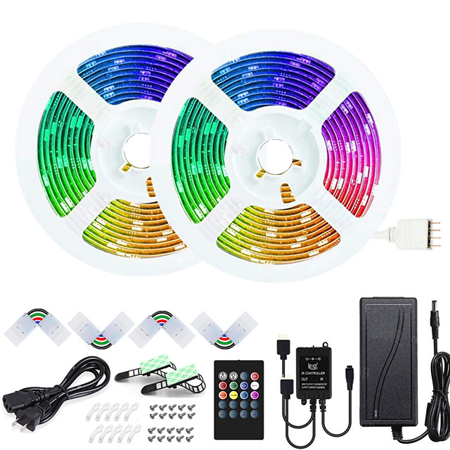 50ft 2x7.5M Music Synchronous Happy Multicolor Light Strip 5050 RGB LED Flexible Light Strip with 20 key IR Controller Optional and  DC12V Adapter Kit