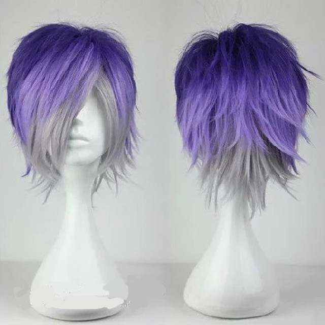 Cosplay Costume Wig Synthetic Wig Toupees Sakamaki Kanato Diabolik Lovers Curly Cosplay Layered Haircut Wig Short Purple / Grey Light Blue Synthetic Hair 10 inch Men's Synthetic Youth Blue Mixed Color